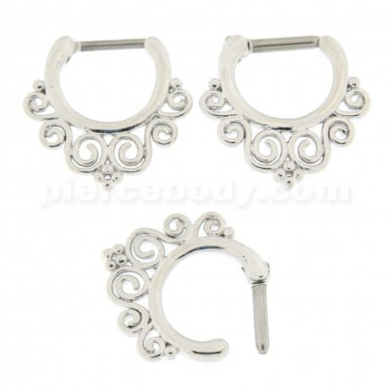 Floral with Flower Dots Septum Clicker Piercing
