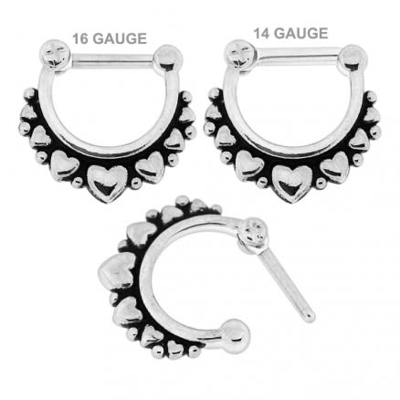 Multiple Hearts Paved Septum Clicker Piercing