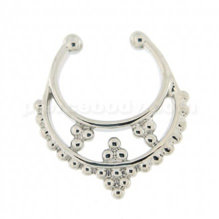 Tribal Dots Paved Non Piercing Fake Clip on Septum Ring