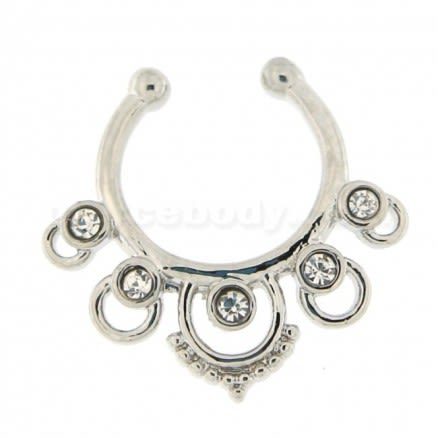 CZ Jeweled Non Piercing Fake Clip on Septum Ring
