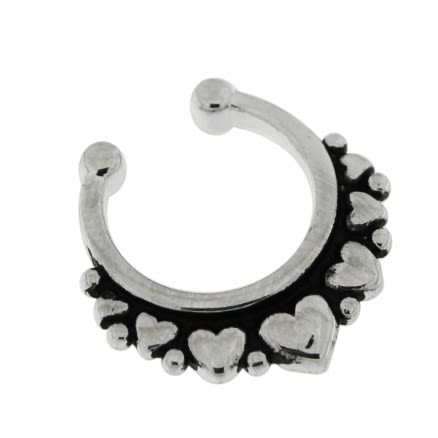 Multi Hearts Paved Non Piercing Fake Clip on Septum Ring
