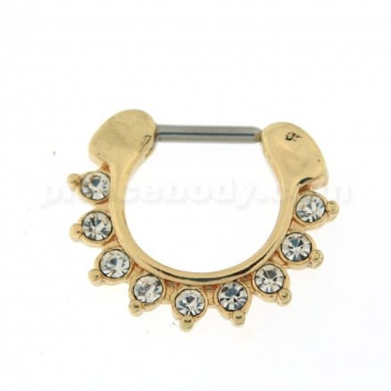 Gold PVD Single Line 9 CZ's Pronged Septum Clicker Piercing