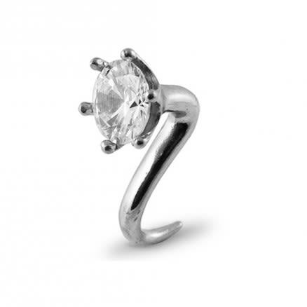 Steel Ear Plug with Jewel