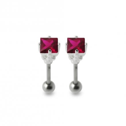 Jeweled Silver Ear Stud Body Piercing Jewelry