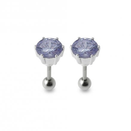 Silver Ear Jewelry With Zirconia Stone