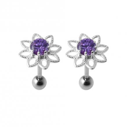 16G Jeweled Silver Ear Body Jewelry