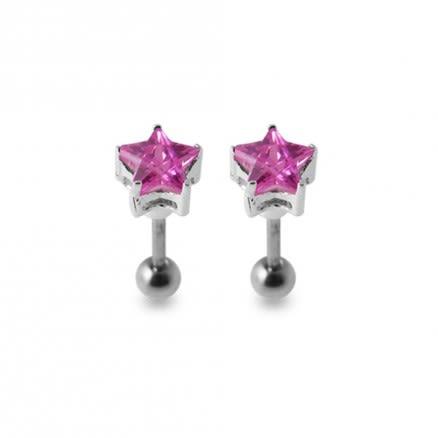 Blue Jeweled Silver Ear Stud