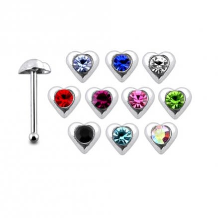 925 Silver Jeweled Heart Nose stud