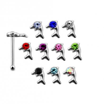 925 Silver Jeweled Dolphin Nose stud