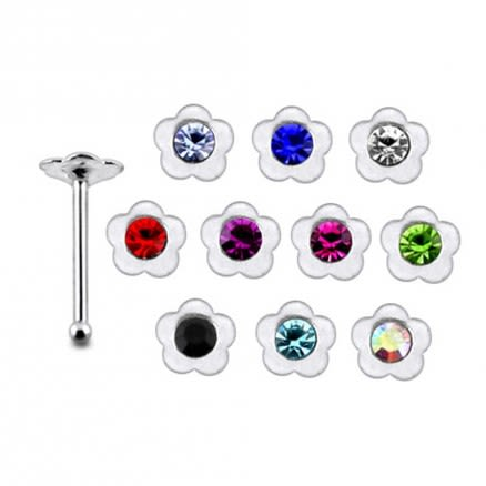 925 Silver Jeweled Flower Nose stud