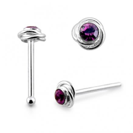 925 Silver Round Jeweled Nose Pin Piercing Jewelry
