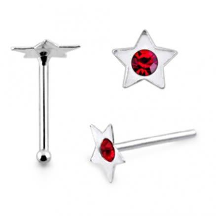 925 Silver Jeweled Star Shape Nose Stud