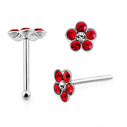 925 Silver Red Color Rhinestone Flower Nose Stud Pin