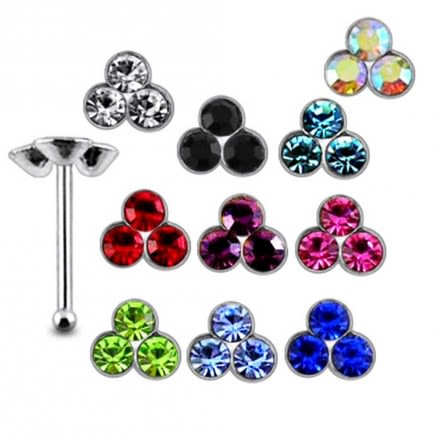 925 Silver Tri Flower Jeweled Nose stud