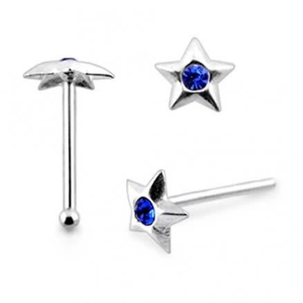 925 Silver Jeweled Pendagon Star Nose stud