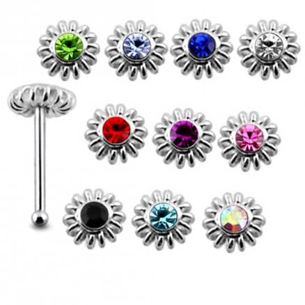 925 Silver Jeweled Coiled Flower Nose stud