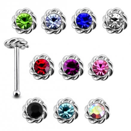 925 Silver Jeweled Twined Flower Nose stud