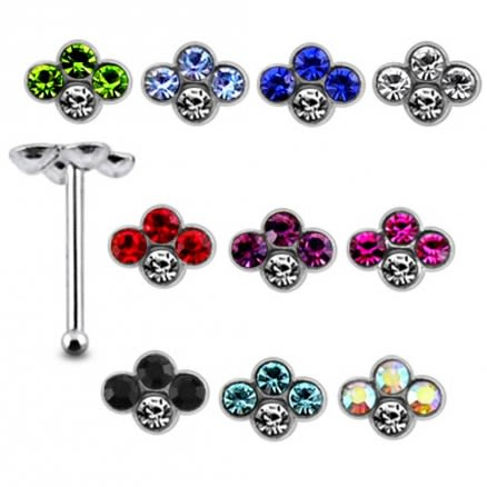 925 Silver Jeweled Crown Nose stud