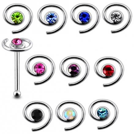 925 Silver Jeweled Coil Nose stud
