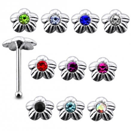 925 Silver Single Stone Of Rhinestone Flower Nose Pin