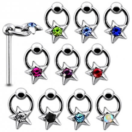 925 Silver Jeweled Hanging Star Nose Stud