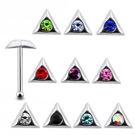925 Silver Jeweled Triangle Nose stud