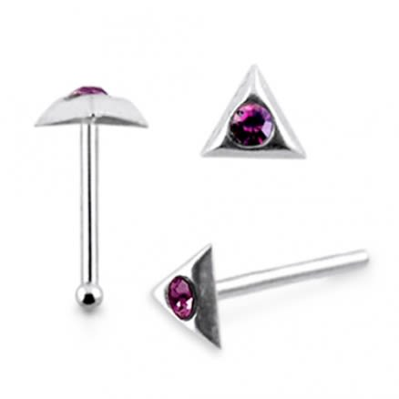 925 Silver Jeweled Triangle Nose stud