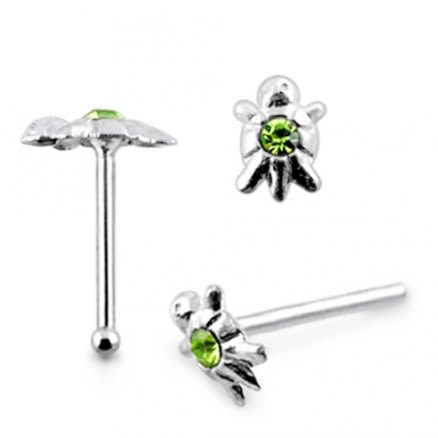 925 Silver Jeweled Turtle Nose stud