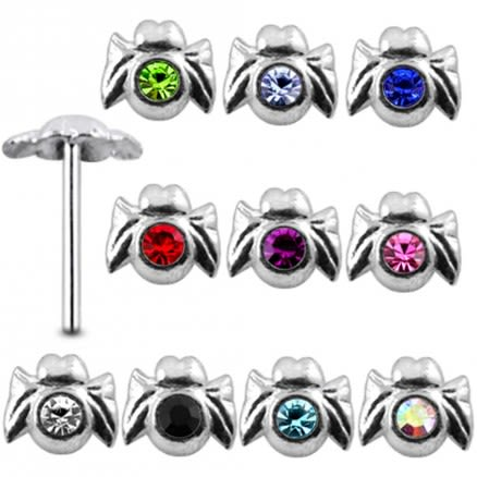 925 Silver Jeweled Spider Nose stud