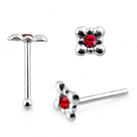 925 Silver Single Gem Stone Nose Stud
