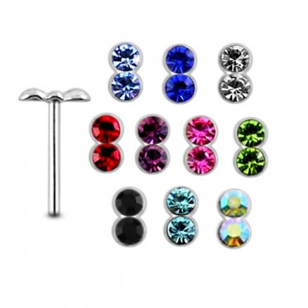 925 Silver Double Jeweled Nose stud
