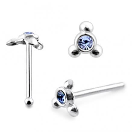 925 Silver Triple Dot Jeweled Nose stud