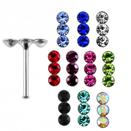 925 Silver Multi Jeweled Nose Stud