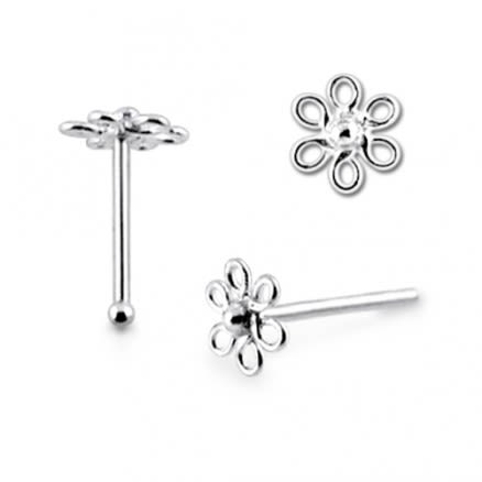 925 Silver Flower Nose Piercing Jewelry