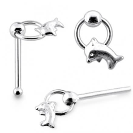Sterling Silver Dolphin Shape Nose Pin