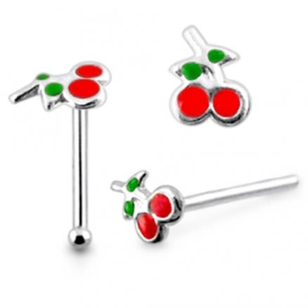 925 Silver Hand Painted Cherry with Leaves Nose Stud