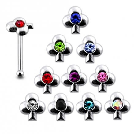 925 Silver Jeweled Clover Nose Stud