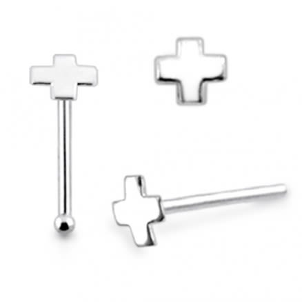 925 Silver Cross Nose Stud