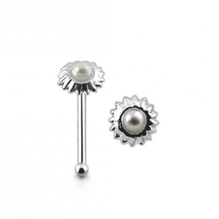 925 Silver Nose Stud With Pearl Studded