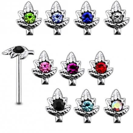 925 Silver Jeweled Marijuana Nose Stud