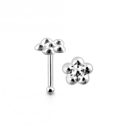 925 Silver Emboss Flower Nose Stud