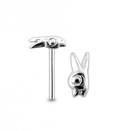 925 Silver Fancy Rabbit Nose Stud