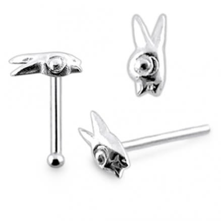 925 Silver Fancy Rabbit Nose Stud