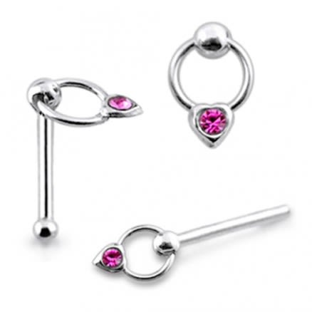 925 Silver Jeweled Heart on Moving Ring Nose Stud