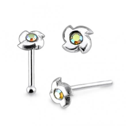 925 Silver Jeweled Swirl Nose Stud