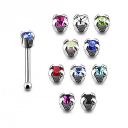 925 Silver Ruby Color Stone Nose Stud