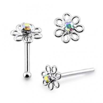 925 Silver With Top Quality Rhinestone Flower Nose Stud Ring