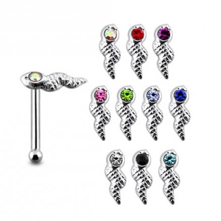 925 Silver Jeweled Snake Nose Stud