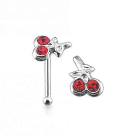 925 Silver Jeweled Cherry Nose Stud