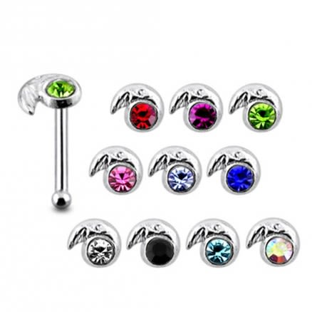 925 Silver Jeweled Snail Nose Stud